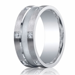 Benchmark Argentium Silver 9mm 12-Stone Diamond Band with Center Channel(.24ct)