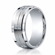 Benchmark Argentium Silver 9mm 12-Stone Diamond Band with Step Edges(.24ct)