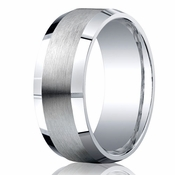 Benchmark Argentium Silver 9mm Satin Band with Beveled Edges