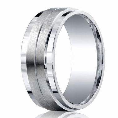 Benchmark Argentium Silver 9mm Satin Band with Center Groove