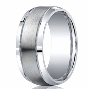Benchmark Argentium Silver 9mm Satin Center with Milgrain Band