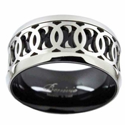 Benivie 12mm Black and Gray Titanium Ring with Knot Patterns