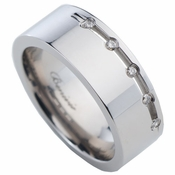 Benivie 8mm Polished Titanium Diamonds Ring
