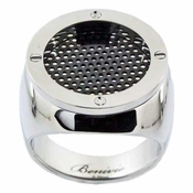 Benivie Stainless Steel Men's Ring with Black Grid Mesh and Screws
