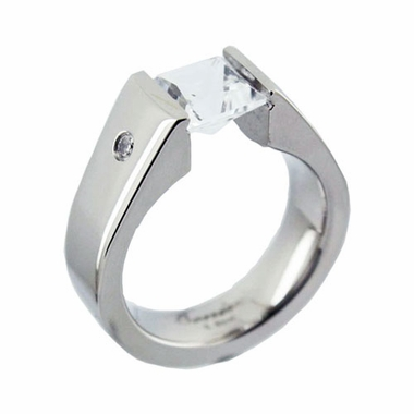 Benivie Titanium Tension Set Ring with Diamonds and White Topaz