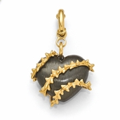 Diego Massimo Jewelry Bronze Collection Black Rhodium Gold Heart Thorn Charm Pendant