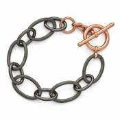Diego Massimo Jewelry Bronze Collection Black Rhodium and Rose Tone Plated Bracelet