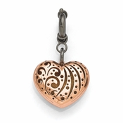 Diego Massimo Jewelry Bronze Collection Black Rhodium Rose Heart Charm Pendant