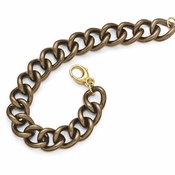 Diego Massimo Jewelry Bronze Collection Brown and Gold Tone Curb Link Necklace