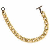 Diego Massimo Jewelry Bronze Collection Brown and Gold Two Tone Twisted Link Necklace