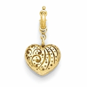 Diego Massimo Jewelry Bronze Collection Etched Gold Heart Charm Pendant