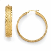 Diego Massimo Jewelry Bronze Collection Etched Gold Tone Diamond Cut Hoop Earrings