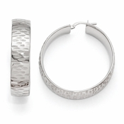 Diego Massimo Jewelry Bronze Collection Etched Rhodium Plated Hoop Earrings