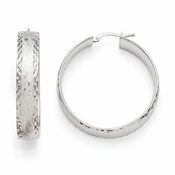 Diego Massimo Jewelry Bronze Collection Etched Rhodium Plated Diamond Cut Hoop Earrings