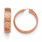 Diego Massimo Jewelry Bronze Collection Etched Rose Tone Hoop Earrings