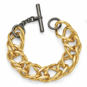 Diego Massimo Jewelry Bronze Collection Gold Tone Black Rhodium Double Link Bracelet