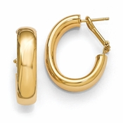 Diego Massimo Jewelry Bronze Collection 26mm Gold Tone Oval Omega Hoop Earrings