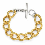 Diego Massimo Jewelry Bronze Collection Gold Tone Rhodium Plated Oval Link Bracelet