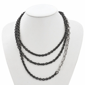 Diego Massimo Jewelry Bronze Collection Hammered Rhodium Plated Link Necklace