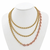 Diego Massimo Jewelry Bronze Collection Hammered Rose and Gold Two Tone Necklace