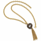 Diego Massimo Jewelry Bronze Collection Polished Brown and Gold Two Tone Tassel Necklace
