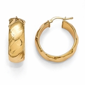 Diego Massimo Jewelry Bronze Collection 28mm Polished Gold Tone Hoop Earrings