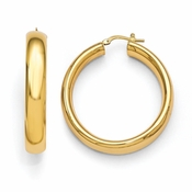 Diego Massimo Jewelry Bronze Collection 40mm Polished Gold Tone Hoop Earrings