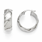 Diego Massimo Jewelry Bronze Collection 28mm Polished Rhodium Plated Hoop Earrings