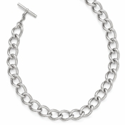 Diego Massimo Jewelry Bronze Collection Polished Rhodium Plated Twisted Oval Link Necklace