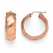 Diego Massimo Jewelry Bronze Collection 28mm Polished Rose Tone Hoop Earrings