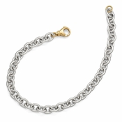 Diego Massimo Jewelry Bronze Collection Gold Tone Rhodium Oval Link Necklace