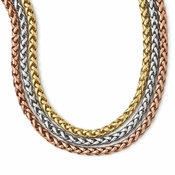 Diego Massimo Jewelry Bronze Collection Rhodium Rose and Gold Tone 3 Strands Necklace