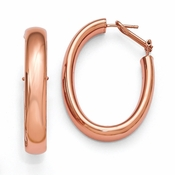 Diego Massimo Jewelry Bronze Collection 40mm Rose Tone Oval Omega Hoop Earrings