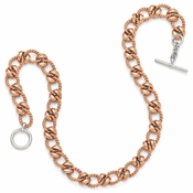 Diego Massimo Jewelry Bronze Collection Rose Tone Rhodium Plated Link Necklace