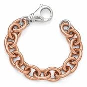 Diego Massimo Jewelry Bronze Collection Rose Tone Rhodium Plated Oval Link Bracelet