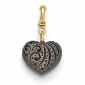 Diego Massimo Jewelry Bronze Collection Satin Black Rhodium Gold Heart Charm Pendant
