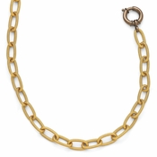 Diego Massimo Jewelry Bronze Collection Textured Brown and Gold Two Tone Link Necklace