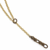 Diego Massimo Jewelry Bronze Collection Textured Brown and Gold Two Tone Slide Necklace