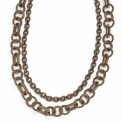 Diego Massimo Jewelry Bronze Collection Textured Brown and Rose Two Tone Necklace