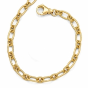 Diego Massimo Jewelry Bronze Collection Textured Gold Tone Oval Link Necklace