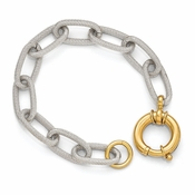 Diego Massimo Jewelry Bronze Collection Textured Rhodium Gold Tone Link Bracelet
