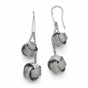 Diego Massimo Jewelry Bronze Collection Textured Rhodium Plated Knot Earrings