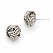 Diego Massimo Jewelry Bronze Collection Textured Rhodium Plated Love Knot Earrings