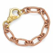 Diego Massimo Jewelry Bronze Collection Textured Rose and Gold Tone Link Bracelet