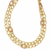 Diego Massimo Jewelry Bronze Collection Textured Rose and Gold Two Tone Link Necklace