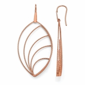 Diego Massimo Jewelry Bronze Collection Textured Rose Tone Leaf Dangle Earrings