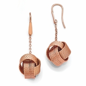 Diego Massimo Jewelry Bronze Collection Textured Rose Tone Love Knot Earrings