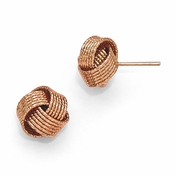 Diego Massimo Jewelry Bronze Collection Textured Rose Tone Love Knot Post Earrings