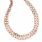 Diego Massimo Jewelry Bronze Collection Textured Rose Tone Rhodium Plated Necklace