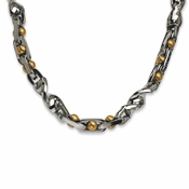 "Chisel 20"" Stainless Steel Yellow IP Plated 24K Necklace"